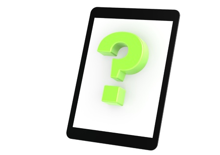 Green question mark on tablet photo