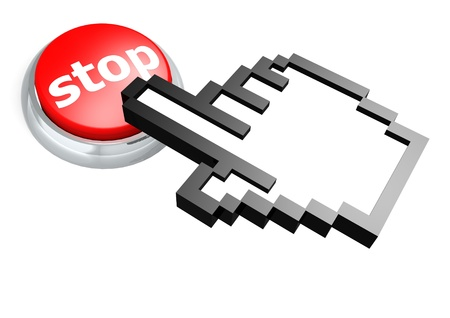 Stop button with hand cursor photo