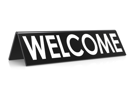 welcome sign: Welcome in black Stock Photo