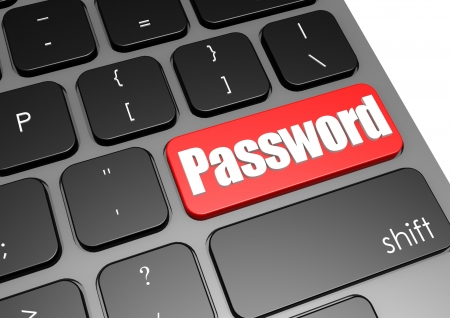 computer support: Password with black keyboard