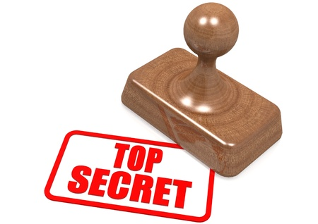 secret word: Top secret word on wooden stamp