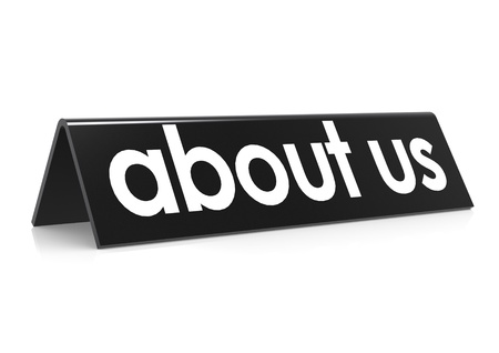 about us: About us in black Stock Photo