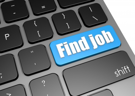 search button: Find job with black keyboard Stock Photo