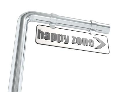 happier: Happy zone street sign Stock Photo