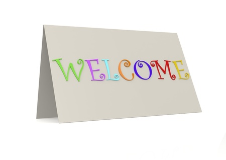 Welcome with folder paper photo