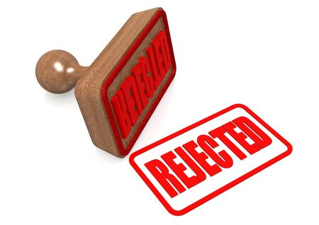 regulated: Rejected word on wooden stamp Stock Photo
