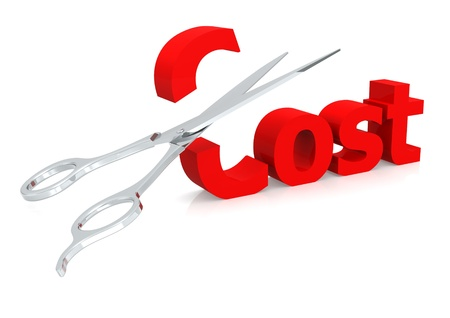 cost reduction: Scissor and cost Stock Photo