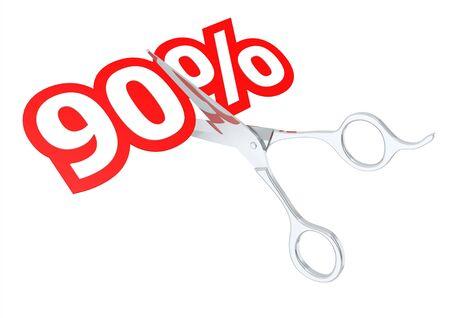 90: Cut 90 percent Stock Photo