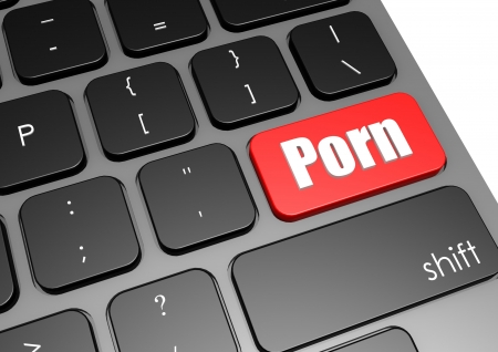 censor: Porn with black keyboard Stock Photo