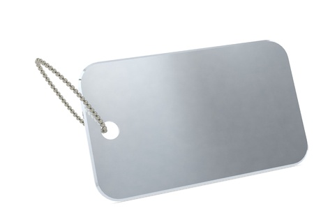 dog tag: Metal plate tag Stock Photo