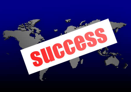 Success word on the blue world map photo