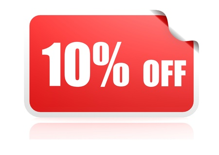10 percent off sticker photo