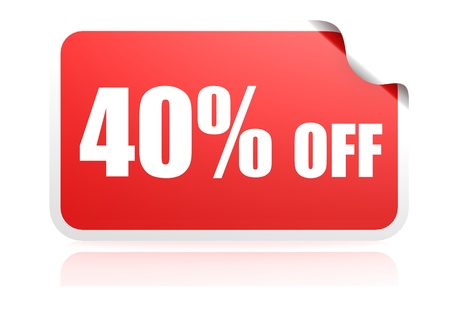 40: 40 percent off sticker