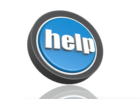 Help round icon in blue Stock Photo - 19327839