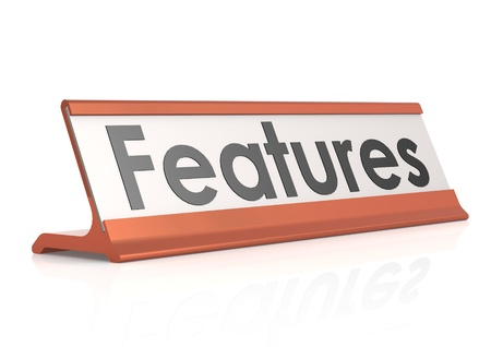 Features table tag Stock Photo - 19328132