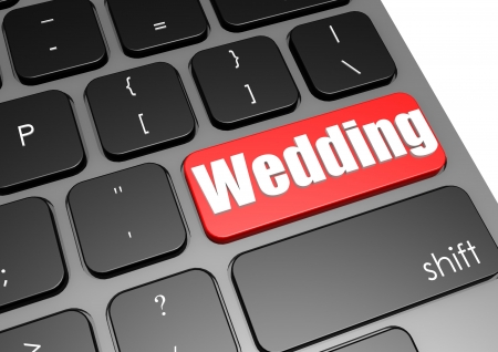 Wedding with black keyboard photo