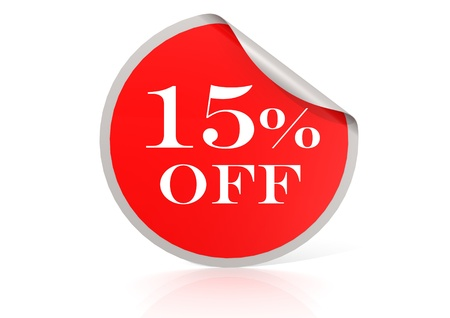 15: Red round sticker for 15 percent discount