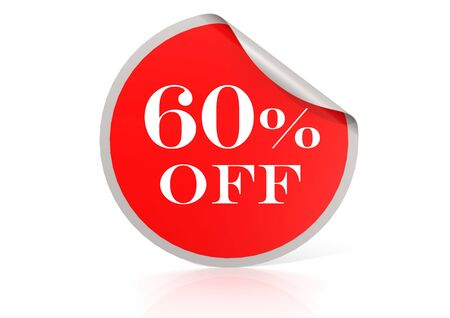 Red round sticker for 60 percent discount photo