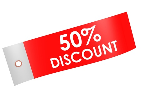 Discount 50 percent label photo
