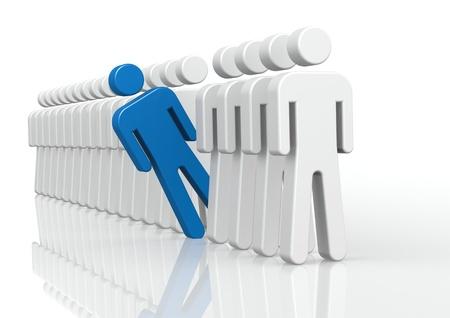 exclusion: Blue man in queue