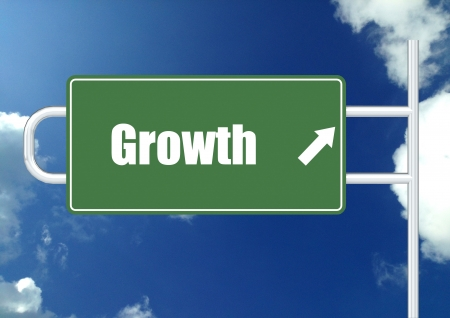 next year: Growth road sign board
