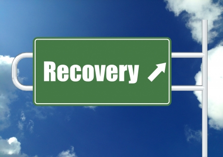 road to recovery: Recovery road sign board