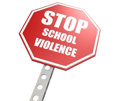 Stop school violence road sign photo