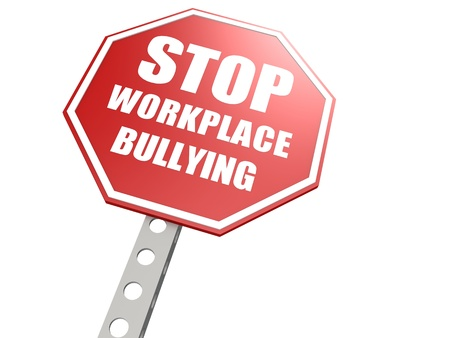 Stop workplace bullying road sign Standard-Bild