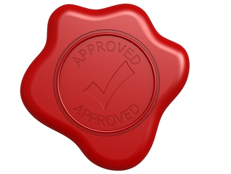 wax glossy: Approved seal Stock Photo