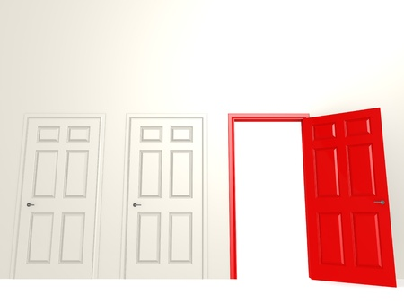 door casing: Open red door Stock Photo