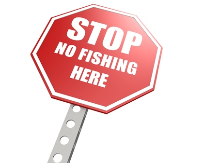 warning against a white background: Stop no fishing road sign Stock Photo