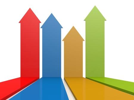 inward: Four color arrows