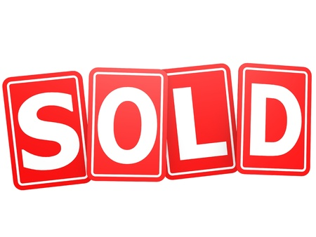 Sold card word Stock Photo - 20439742