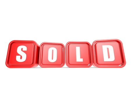 Sold word on the cube Stock Photo - 20439789