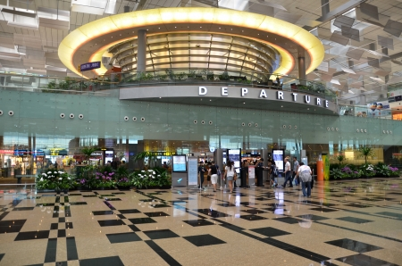 Departure hall of Changi airport, Singapore, Editorial
