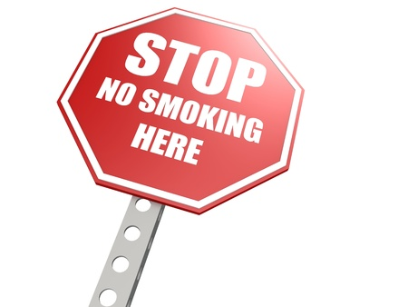 Stop no smoking here road sign Stock Photo - 20439741