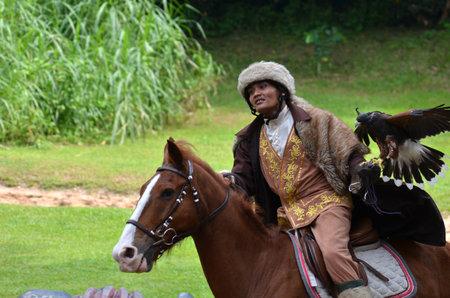 horse riding: Horse riding performance in Jurong bird park Editorial