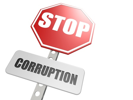 Stop corruption road sign Stock Photo