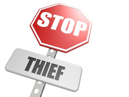 Stop thief road sign photo