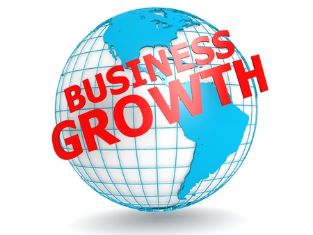 Business growth with globe photo