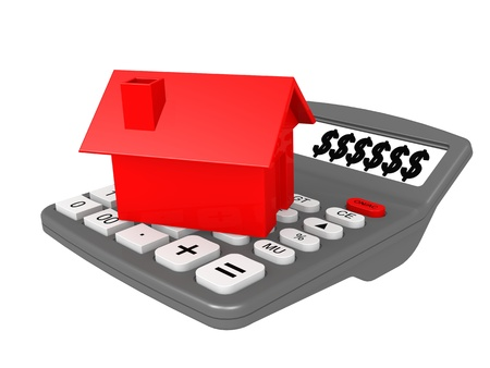 mortgaging: Calculator and house Stock Photo