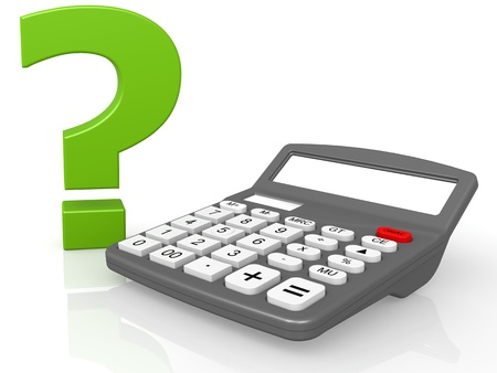 estimate: Calculator and question mark Stock Photo