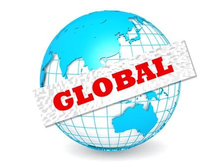 Globe with global word photo