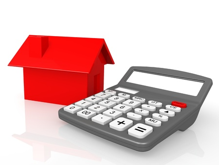 mortgaging:  Calculator and house
