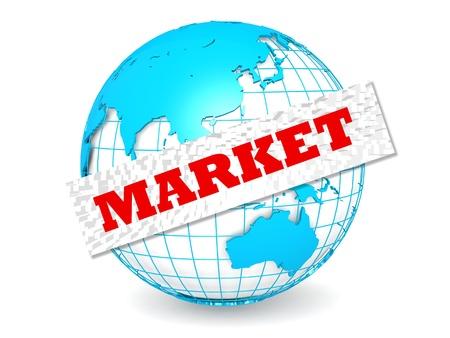 Globe with market word Stock Photo - 20901958