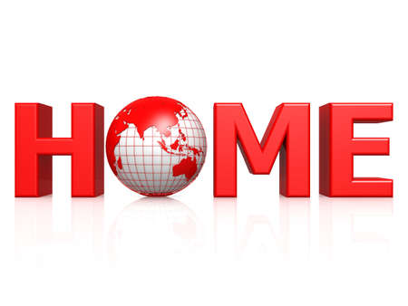 webspace: Home with globe Stock Photo