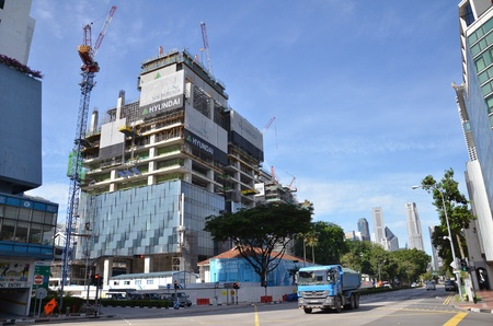 Construction of new office building in Singapore