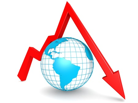 downward: Downward graph with globe Stock Photo