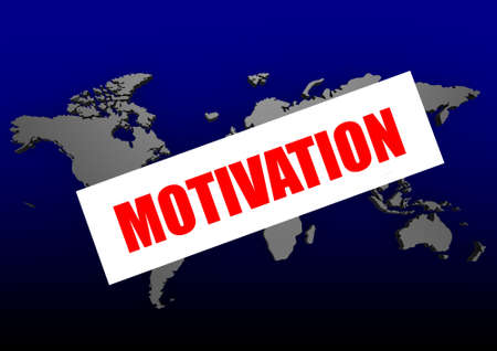 Motivation word on the blue world map photo
