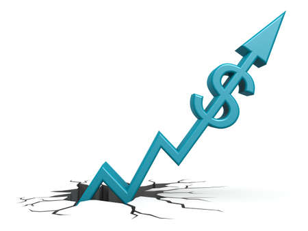 upward movements: Blue dollar out of ground Stock Photo